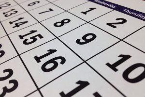 Calendario marcando 15 días de antelación
