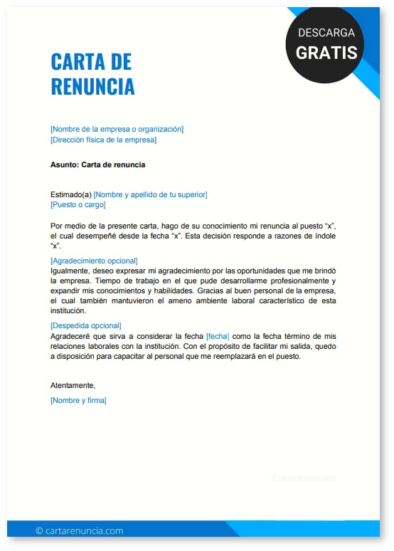 Carta de renuncia a un contrato