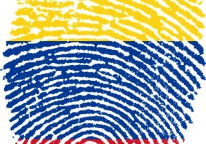 Huella dactilar con bandera colombiana