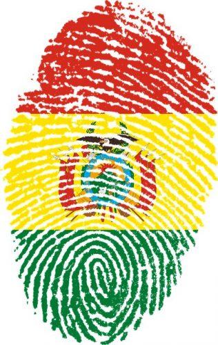 Huella dactilar con bandera boliviana